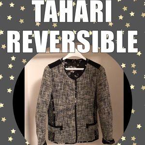 Unique Elie Tahari Reversible Jacket Tweed/Floral